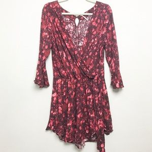Free People All the Right Ruffles Red Romper Sz LG